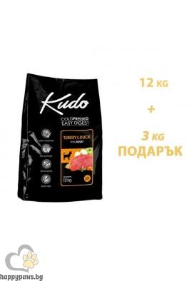 Kudo Low Grain Mini Adult Суха храна за кучета от малки породи на възраст над 12 месеца с пуйка и патица, различни разфасовки