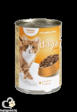 DAYA Пълноценна храна за израснали котки, различни вкусове, 400 гр.