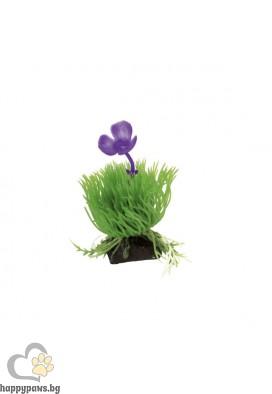 Ferplast - пластмасово растение трева с лилаво цвете, 10 см
