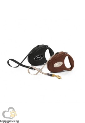 Flexi Leather Луксозен автоматичен повод - обшит с естествена козя кожа, различни цветове