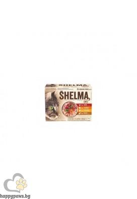 Shelma Паучове за котка с 4 вкуса месо, 12x85гр