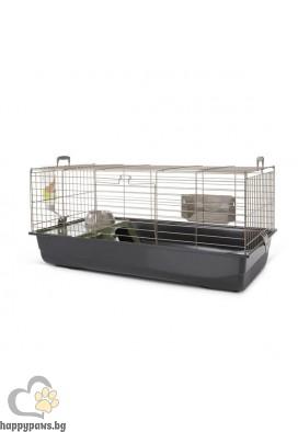 Savic Клетка за зайчета Nero 3 De Lux Happy Planet - топло сиво/черно