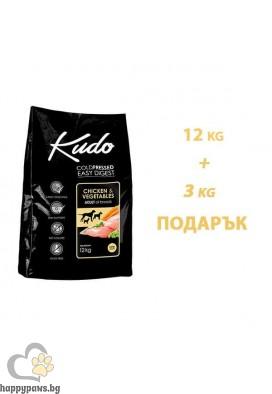 Kudo Low Grain Adult Dog Суха храна за кучета от всички породи на възраст над 12 месеца с пиле и зеленчуци, 12 кг