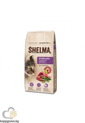 Shelma Гранулирана храна за кастрирани котки с говеждо, 8 кг
