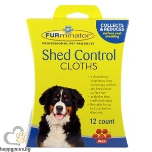 FURminator - Мокри кърпички против падане на козина за куче - 12 бр.