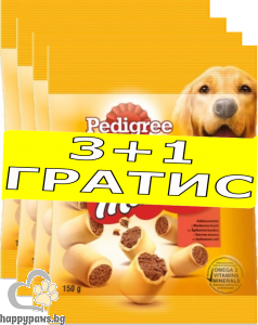 Pedigree - Markies кучешки бисквитки с пълнеж, 3 + 1 промо пакет, 4x150 гр.