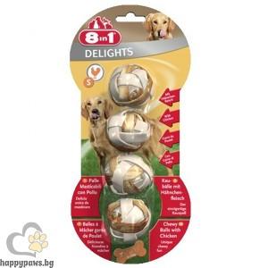 8in1 - Delight - лакомство дъвчащи топчета с пилешко месо - 4 бр. в пакет