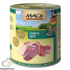 MAC'S DOG Консервирана храна за израстнали кучета, над 1 година, Агнешкo и патешко месо ,400 гр.