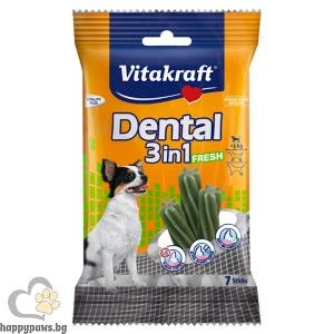 Vitakraft - Dental 3in1 Fresh Small лакомства с мента за устна хигиена на кучета от дребните породи, 7 бр. - 120 гр.