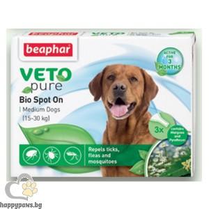 Beaphar Veto Pure Bio Spot On Dog репелентни капки за кучета от средни породи, 3 бр