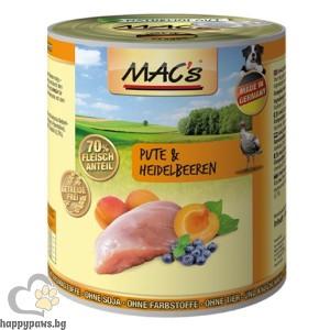 Mac's - Dog консервирана храна за израснали кучета над 1 година с пуешко месо и боровинки, 400 гр.