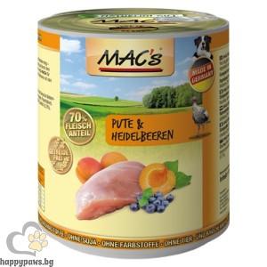 Mac's - Dog консервирана храна за израснали кучета над 1 година с пуешко месо и боровинки, 800 гр.