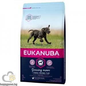 Eukanuba - PUPPY & JUNIOR LARGE BREED MAINTENANCE пълноценна и балансирана храна за кучета от големи и гигантски породи и възраст от 1 до 12 месеца, различни разфасовки.