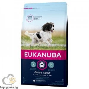 Eukanuba - MEDIUM BREED ADULT , суха храна за кучета от средни породи и възраст над 12 месеца, различни разфасовки.