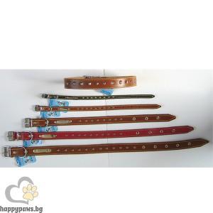 """МиаЗоо - Нашийник """"Лидер"""" от естествена кожа с метални конуси, различни размери"""