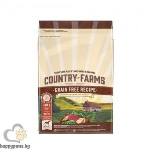 Country Farms - Grain Free суха храна за кучета над 1 година от средни и едри породи, говеждо, различни разфасовки