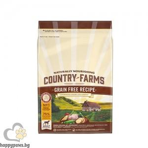 Country Farms - Grain Free суха храна за кучета над 1 година от средни и едри породи, пиле, различни разфасовки