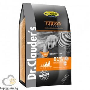 Dr. Clauders - Super Premium Large Breed Junior суха храна с прясно пилешко месо, за кучета големи и гигантски породи над 25 кг. от 2 до 18 месеца, различни размери.