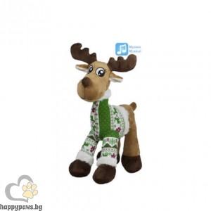 Коледна играчка еленче с пуловер, 25 см
