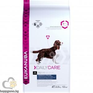 Eukanuba Daly Care Overweight Sterilized - за кастрирани мъжки и женски кучета над 12 месеца,подходяща за всички породи, различни разфасовки.