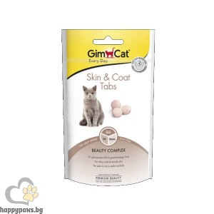 GimCat Skin & Coat Tabs - Таблетки за кожа и козина за котки, 40 гр