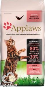 Applaws - Adult Chicken Cat With Extra Salmon суха храна за котки над 12 месеца с пилешко месо и сьомга, без глутен, 400 гр.