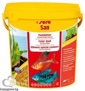 sera - San - храна за подсилване на цветовете при рибките, 1 л.