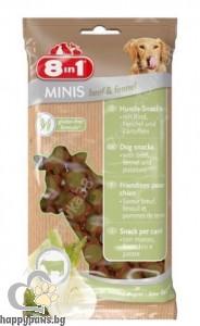 8in1 - Minis – лакомство за кучета с говеждо месо и копър, 100 гр.