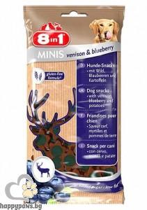 8in1 - Minis – лакомство за кучета с еленско месо и боровинки, 100 гр.
