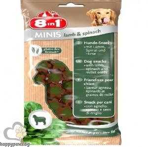 8in1 - Minis – лакомство за кучета със спанак и агнешко, 100 гр.