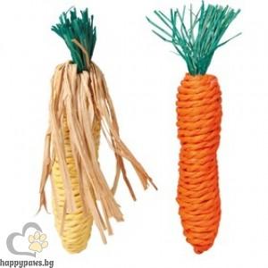 TRIXIE - Играчки в комплект от два броя, с формата на царевичен кочан и морков