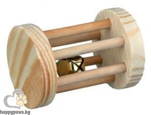 TRIXIE - Дървен цилиндър със звънче за хамстери и мишки