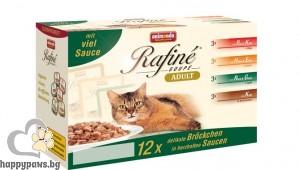 Rafine - Soupe микс паучове за израснали котки, 12 броя в кутия по 100 гр.