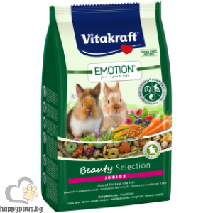 Vitakraft - Emotion Beauty Selection Junior Храна за млади декоративни мини зайчета под 6 месеца, 600 гр.
