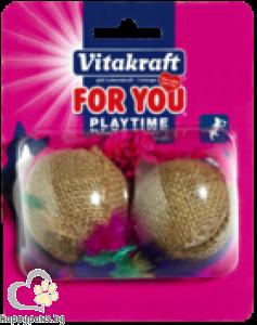 Vitakraft - For You Играчки за котки - 2 конопени топки на въже