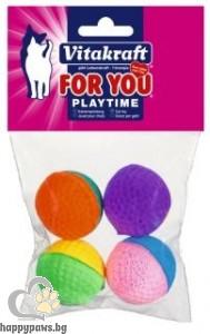 Vitakraft - For You Играчки за котета 4 бр. меки цветни топчета от естествена гума