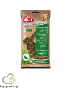 8in1 - Minis - Лакомство за кучета със заешко и билки, 100 гр.