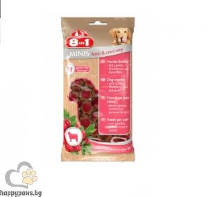 8in1 - Minis - Лакомство за кучета с агнешко и червени боровинки, 100 гр.