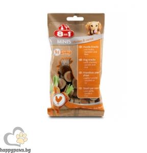 8in1 - Minis - Лакомство за кучета с пилeшко и моркови, 100 гр.