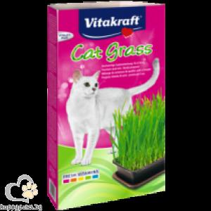Vitakraft - Cat Grass Котешка трева в съд готова за употреба, 120 гр.