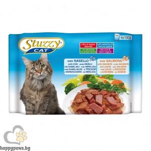 Stuzzy - Cat Cod and Salmon пауч за котета над 12 месеца с треска и сьомга, 4 х 100 гр.