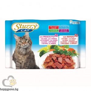 Stuzzy - Cat Ham Beef пауч котета над 12 месеца с прошуто и телешко месо, 4 х 100 гр.