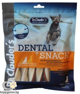 Dr. Clauders - Dental Snack Ente/Duck Medium breed дентално лакомство за кучета от средните породи, 170 гр.