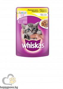 Whiskas - Pouch Junior пауч за котки от 1 до 12 месеца, различни вкусове, 100 гр.
