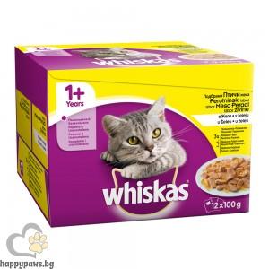 Whiskas - Pouch Adult пауч за котета, мултиопаковка, различни вкусове, 12 х 100 гр.