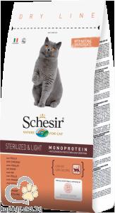 Schesir - DRY LINE Sterilized & Light пълноценна суха храна с пилешко за кастрирани или с наднормено тегло котета над 12 месеца, 10 кг.