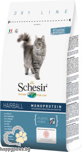 Schesir - DRY LINE Hairball пълноценна суха храна с пилешко, за дългокосмести котки, 1.5 кг.