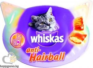 Whiskas - Anti hairball деликатесно лакомство за котки за разграждане на космени топки, 60 гр.