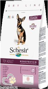 Schesir - DRY LINE Toy Adult Maintenance пълноценна храна с пилешко месо, за кучета мини породи над 12 месеца, 800 гр.