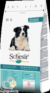 Schesir - DRY LINE Puppy Maintenance пълноценна храна с пилешко месо за кучета средни породи от 1 до 12 месечна възраст, 12 кг.